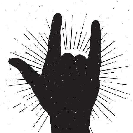 Rock Handzeichen Silhouette, Grunge-Vorlage für Ihr Slogan, Text oder Mitteilung Standard-Bild - 38651981