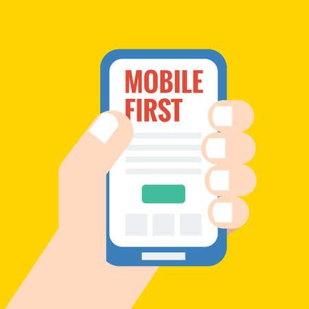 Le style plat illustration, premier mobile - stratégie dans la conception web