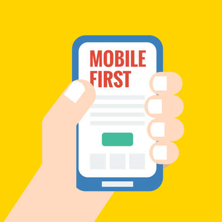 Flat style illustration, mobile first - strategy in web design Stock Illustratie
