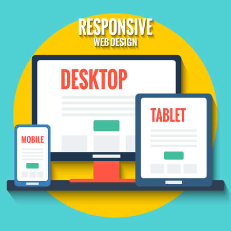 Responsive web design concept, flat illustration with desktop, tablet and smartphone