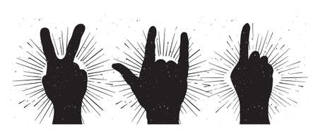 rock n: Grunge hand sign silhouettes: peace, rock and indication