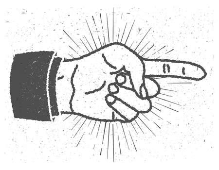 Vintage geïnspireerde hand met wijzende vinger teken Stock Illustratie