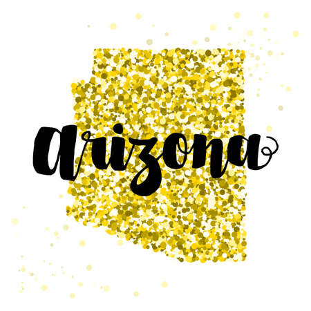 luxery: Golden glitter illustration of the state of Arizona with modern lettering