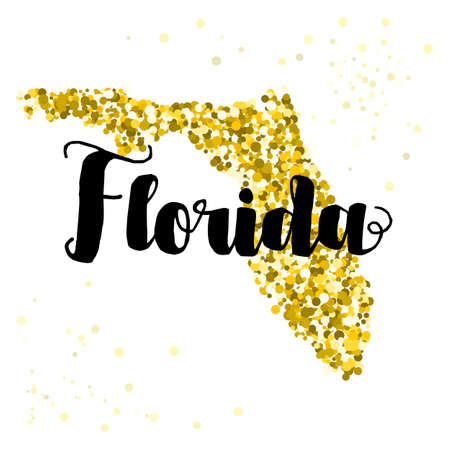 luxery: Golden glitter illustration of the state of Florida with modern lettering