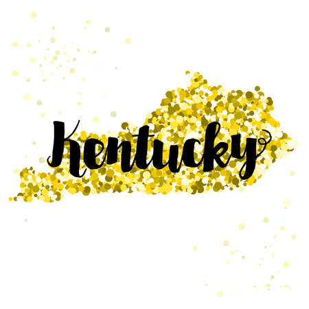 luxery: Golden glitter illustration of the state of Kentucky with modern lettering