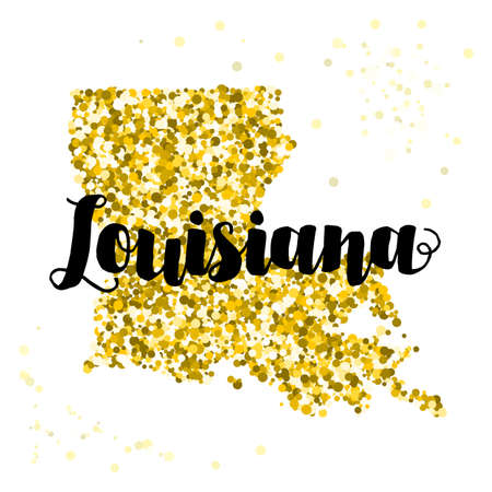 luxery: Golden glitter illustration of the state of Louisiana with modern lettering Illustration