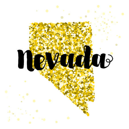 luxery: Golden glitter illustration of the state of Nevada with modern lettering