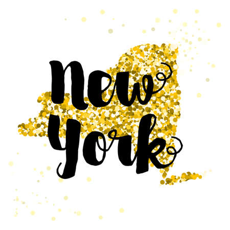 luxery: Golden glitter illustration of the state of New York with modern lettering