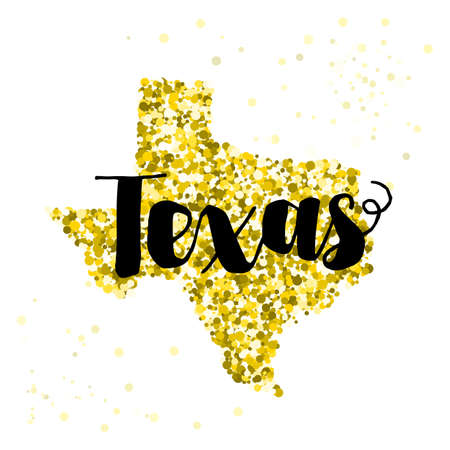 Golden glitter illustration of the state of Texas with modern lettering