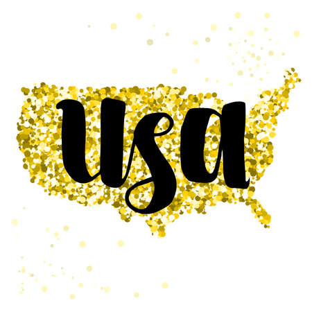 luxery: Golden glitter illustration of the United States of America with modern lettering Illustration