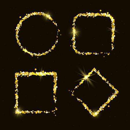 golden frames: Shiny golden glitter frames for holiday designs