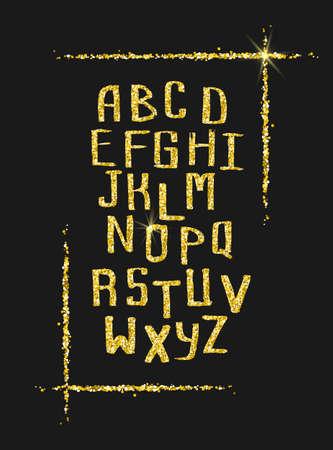 Golden glitter alphabet for holiday designs
