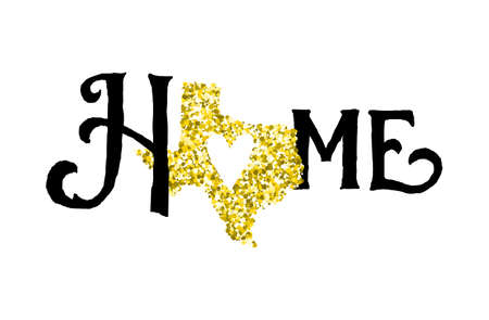 homes: Texas is home golden glitter illustration with modern lettering