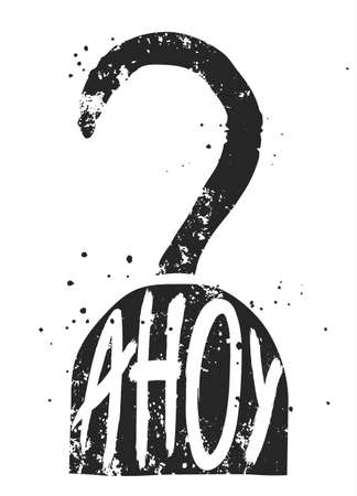 ahoy: Ahoy typographic poster with pirate hook silhouette, nautical illustration