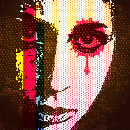 mixed media: 60s style digital pop art portrait. Young female portrait with halftone textures