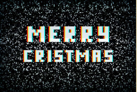Merry Christmas card, technology concept, pixel typography on noisy screen