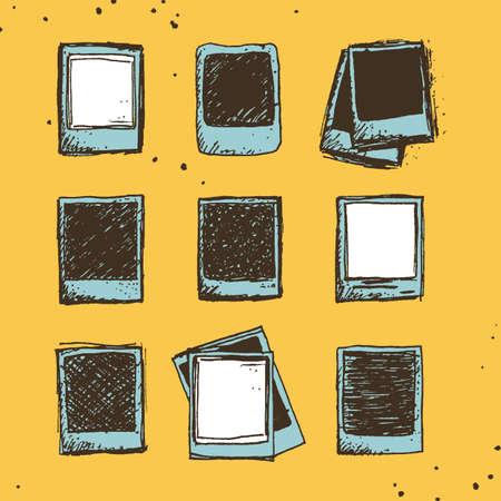 Set von 9 Hand skizzen polaroid Kritzeleien in Vintage-Farbpalette, Vorlage für eine Reihe von Fotos gezeichnet Standard-Bild - 48316382
