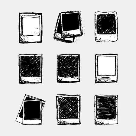 Set of 9 hand drawn sketchy polaroid doodles in black and white,  template for a set of photos