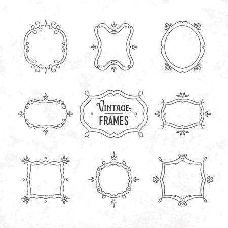 formats: Set of 9 cute vintage frames of different orientations and formats for your designs
