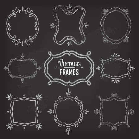 linework: Set of 9 cute vintage chalk frames of different orientations and formats on chalkboard for your designs Illustration