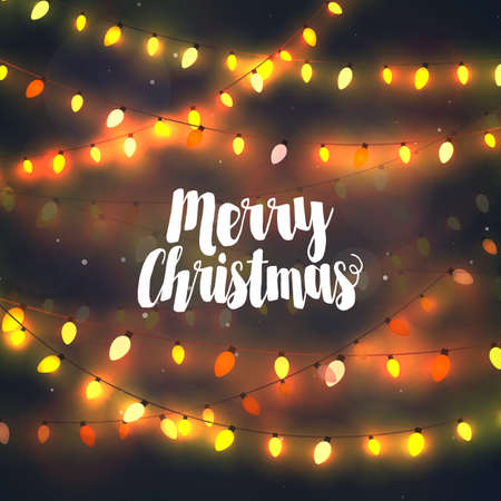 Cozy yellow Christmas lights garlands, greeting card with Merry Christmas typography