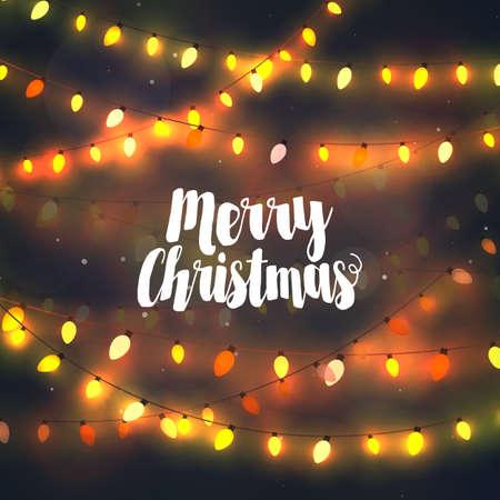 joyeux noel: Cozy lumières jaunes des guirlandes de Noël, carte de voeux avec la typographie Joyeux Noël