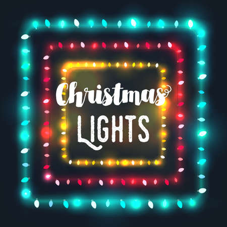 patio set: Three square Christmas light borders of different colors for holiday designs