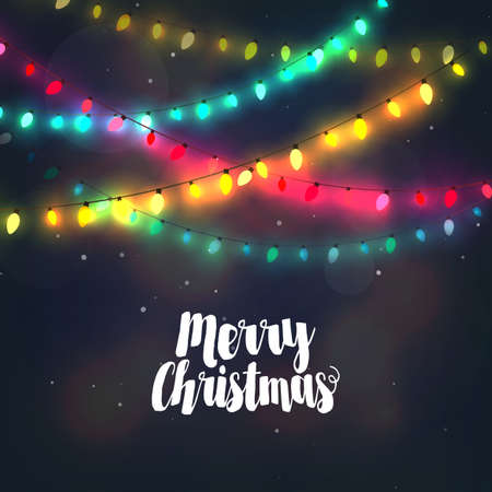 happy new year text: Christmas background with colorful light garlands and Merry Christmas typography