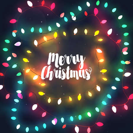 outdoor lights: Cozy Christmas lights garlands, greeting card with Merry Christmas typography