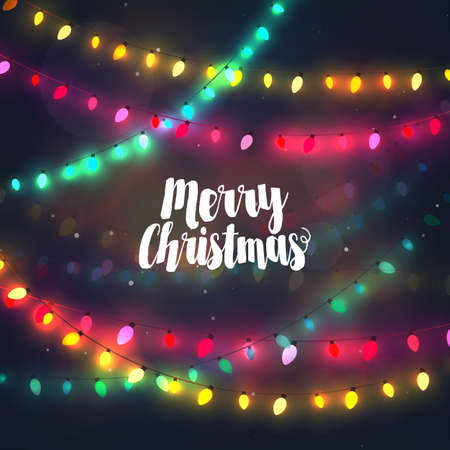 Cozy colorful Christmas lights garlands, greeting card with Merry Christmas typography