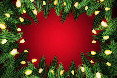 festive background: Christmas pine wreath with lights on festive red background
