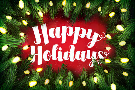 holiday backgrounds: Christmas card with pine wreath and holiday greetings on red. Happy holidays Stock Photo