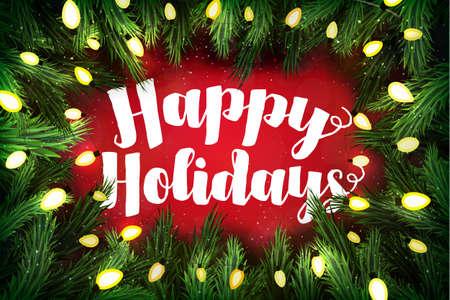 glücklich: Weihnachtskarte mit Kiefer Kranz und Urlaubsgrüße auf rot. Schöne Ferien