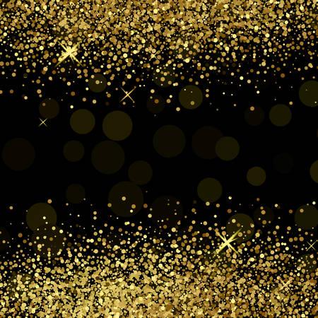 Shiny golden glitter on black  background