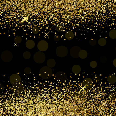 Shiny golden glitter on black  background