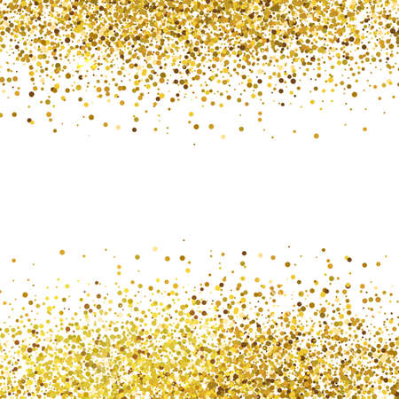 Shiny golden glitter on white background