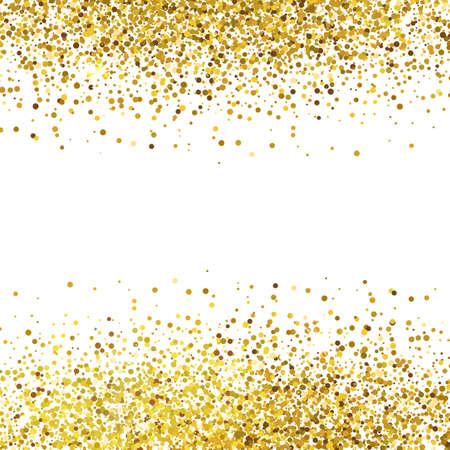 Glanzende gouden glitter op een witte achtergrond