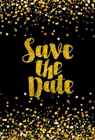 date: Save the date goldenen Glitter Hochzeit Einladungsschablone