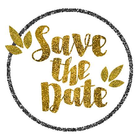 Save the date goldenen Glitter Hochzeit Einladungsschablone Standard-Bild - 50743808