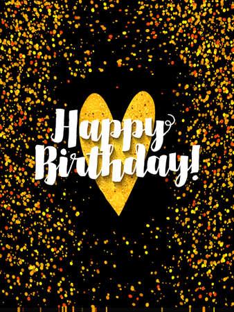 Oscuro Tarjeta de feliz cumpleaños con brillo de oro dispersas