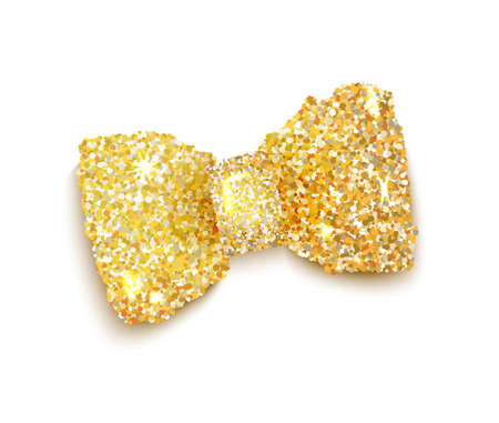 accessory: Golden sparkling glitter decorated bow, trendy fashion accessory