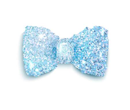 accessory: Sparkling blue glitter decorated bow, trendy fashion accessory