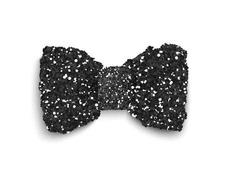 accessory: Black sparkling glitter decorated bow, trendy fashion accessory