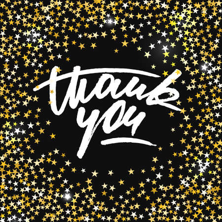 Thank you card with scattered shiny golden star glitter forming a circle Illustration