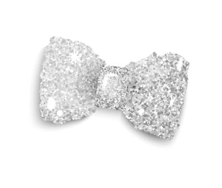 silver ribbon: Silver sparkling glitter decorated bow, trendy fashion accessory