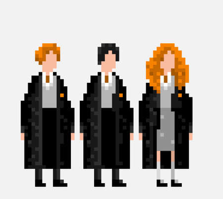 ron: USA, JANUARY 25, 2016: Stylized pixel art illustration of three main characters of Harry Potter novels and movies Ron Weasley, Harry Potter and Hermione Granger Editorial