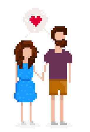 pixelated: Hipster couple is in love and holding hands. Pixel art for Valentines day