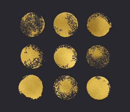 Golden glitter circles boho chic style Иллюстрация