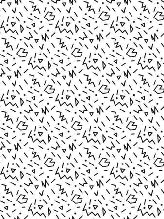 シームレスなメンフィス スタイル パターン、幾何学的なポップアート パターン