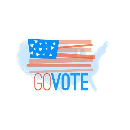 libertarian: Go vote illustration primitive flag on grungy US map background for election designs Illustration